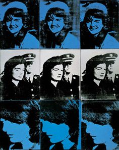 Andy Warhol, Nine Jackies, Synthetic polymer and silkscreen ink on canvas, 59 × 48 inches Collection Whitney Museum of American Art, New York Andy Warhol Pop Art, Andy Warhol Museum, Jackie Kennedy, Roy Lichtenstein, Pittsburgh, Cultura Pop, Photo Star, Power Pop, Whitney Museum