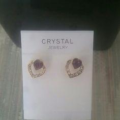 Austrian crystal purple heart stud earrings Austrian crystal purple heart stud earrings. Jewelry Earrings