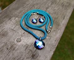 Classic Long Rope Jewelry Sets: Necklace, Earrings And Bracelet, Swarovski Pendant Bermuda Blue, Bead Crochet Necklace, Earrings Silver