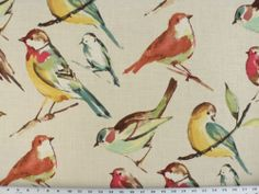 Drapery Upholstery Fabric Bird Branch Watercolor Screen Print on Linen Spring | eBay  I want to make curtains out of this fabric for dinning area!  Love!