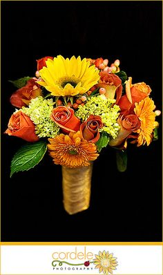 Bridesmaid arrangement idea -Orange Wedding Bouquet Fall  - Sunflower instead of Gerber daisy and maybe more orange