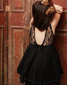 Flower Girls Vintage Black  Lace Dress