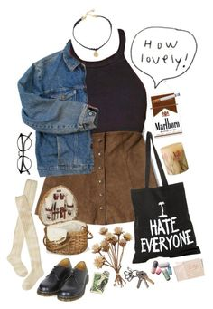 """""""You're better off dead when your mind's been set from 9 until 5"""" by purpleghost ❤ liked on Polyvore featuring Abercrombie & Fitch, Wrangler, Vanessa Mooney, Jac Vanek, Wigwam, Dr. Martens, Picnic Time, Rosy Rings and Hahn http://amzn.to/2stx5H7"""