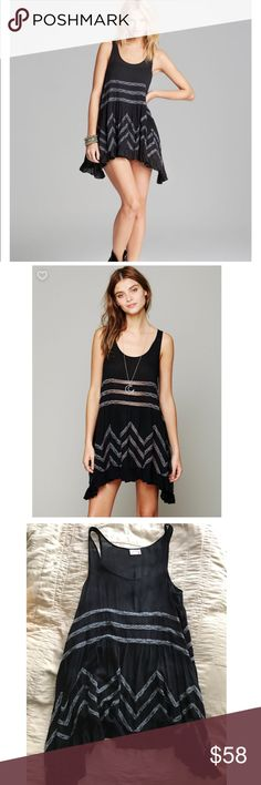 Free People trapeze tunic/dress Sheer dotted slip dress with lace inset throughout & ruffled hem. Looks great with jeans, a shirt underneath, or as a tank dress when it's not out. No tags, like new. Free People Dresses