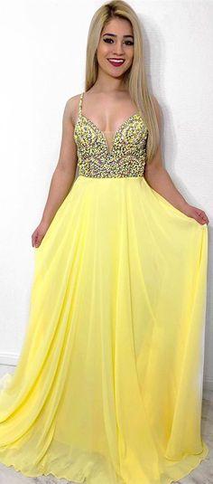 ebc65aa7028 2k18 yellow chiffon long prom dress, elegant beaded straps yellow long prom  dress formal dress