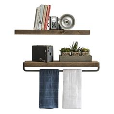 This listing is for 1 floating wall shelf and 1 floating wall shelf with towel holder. We use 2x6 pine wood and stain it in dark walnut.