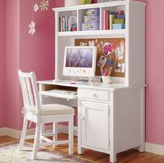 pink and white girl's room, desk and hutch