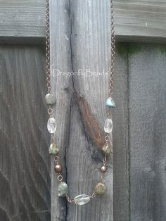 Wire Wrapped Antique Copper Turquoise Chocolate Pearl by DflyBeads