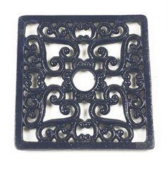 Metal Kitchen Trivets   Heavy duty cast iron trivet - Square - Colour blue.