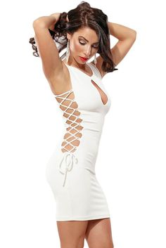 Mini Robes En Dentelle Blanche Jusqu'A Robe Moulante Pas Cher www.modebuy.com @Modebuy #Modebuy #Blanc #me #sexy #dress
