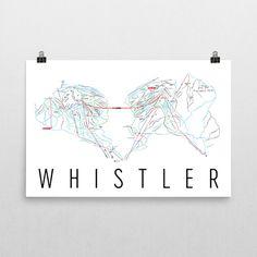 Whistler Ski Map Art, Whistler BC, Whistler Trail Map, Whistler Ski Resort Print, Whistler Poster, Whistler Mountain, Art, Gift
