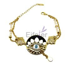 Classical Delicate Gold Bracelets With white Swarovski crystals in eyes shape For lady
