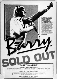 Barry Manilow Uris Theatre poster.