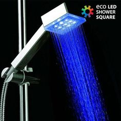Blue Color Single type Square water power LED hand shower without color box Bamboo Bathroom, Bathroom Sink Faucets, Shower Faucet, Bathroom Fixtures, Bathtub Accessories, Water Powers, Magnifying Mirror, Light Works, Lumiere Led