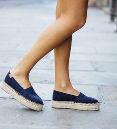 Platform Espadrille Navy - Alohas Sandals