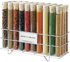 spice rack---I like the vials, but most vials are 2oz, and the standard spice bottle is 4oz.
