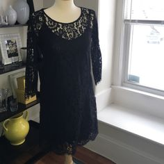 Black lace dress size S Cute black lace dress from anthropology, size small. Worn once like new. Anthropologie Dresses Midi