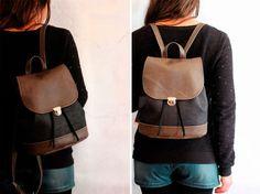 Bucket backpack in sughero e vegan leather. Zaino unisex in sughero nero e ecopelle invecchiato con coulisse e bottone a cartella. Vegan