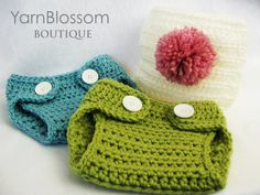 CROCHET Baby PATTERN Diaper Cover with by YarnBlossomBoutique