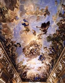 Decorative Ceiling Palazzo Medici Riccardi 1686 Art Print by Giordano Luca Ceiling Painting, Ceiling Art, Baroque Painting, Baroque Art, Fresco, Art Du Temps, Rennaissance Art, Baroque Architecture, Italian Painters