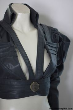 Leather  Grey Jacket Steampunk Gothic Bolero Leather by chrisst