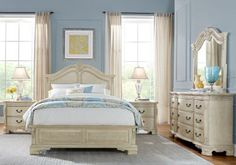 Cortinella White 7 Pc Queen Panel Bedroom  . $1,588.00.  Find affordable Queen Bedroom Sets for your home that will complement the rest of your furniture. #iSofa #roomstogo