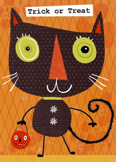 Trick or Treat Kitty  By ©kelly cottrell design