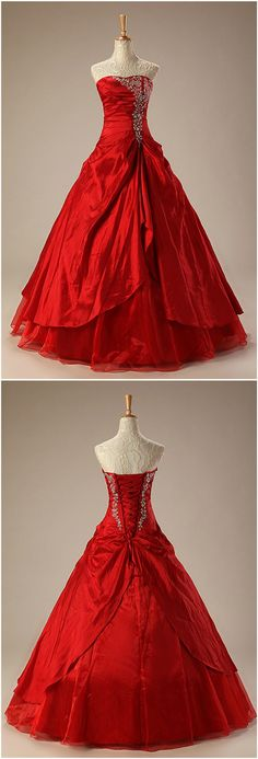 Red Taffeta Ballgown Embroidered Red Wedding Dress Ruffles. Red Color Wedding Dress for Plus Size Bride, Second Wedding and Older Bride.