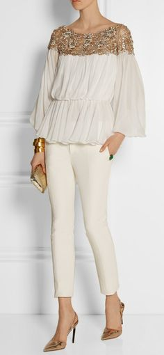 Beautifully embellished lined white sheer gold embellished blouse very similar 2 the long and short gowns i just pinned, have more.cherie