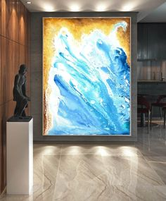 Extra Large Wall art - Abstract Painting on Canvas, Contemporary Art, Original Oversize Painting Blue Abstract Painting, Abstract Canvas Art, Painting Gallery, Gallery Wall, Gold Canvas, Extra Large Wall Art, Acrylic Colors, Contemporary Art, Original Paintings