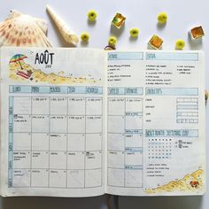 """214 Likes, 9 Comments - Constance (@constancechel) on Instagram: """" A O Û T lay out  J-5 avant la Croatie!! @perrinecassard  #aout #bulletjournal #bujo…"""""""