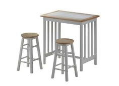 Kitchen Table - Three Piece Mission Breakfast Set in White and Natural High Dining Table, High Top Tables, Kitchen Dining Sets, Dining Room Sets, Kitchen Island, Breakfast Bar Stools, Breakfast Set, Under The Table, Table And Chair Sets