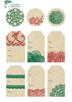 etiquetas+navidad+puntilla+verde+y+rojo. Scrap Material, Free Digital Scrapbooking, Gift Tags Printable, Diy For Girls, Christmas Tag, Card Tags, Diy Scrapbook, Tag Art, Planner Stickers