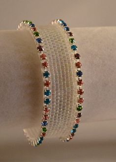 Handmade White Irridescent Peyote Stitch Beadwoven by CloesCloset, #sellergroup