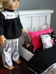 Paris Print 5 Piece Bedding Set for American Girl by MrsSewItAllGA, $22.00