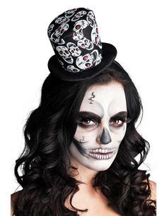 Mini sombrero de copa esqueleto mujer Halloween: Este mini sombrero de copa es…