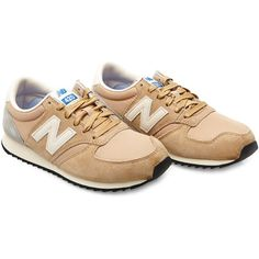 New Balance U420 suede and nylon sneakers ($72) ❤ liked on Polyvore featuring shoes, sneakers, beige, american shoes, new balance shoes, high top trainers, beige suede shoes and new balance high tops