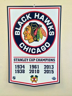 Chicago Blackhawks 2015 NHL Stanley Cup Championship Banner Style Hockey Poster #ChicagoBlackhawks