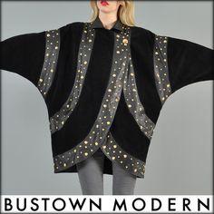 vtg GOLD STUD suede LEATHER draped COCOON avant garde batwing dress jacket coat | eBay