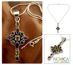 Garnet & amethyst flower necklace, 'Starburst' at The Animal Rescue Site