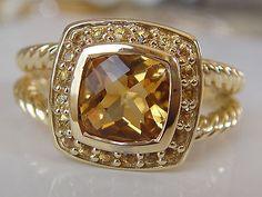 $2300 DAVID YURMAN SOLID 18K GOLD PETITE ALBION YELLOW SAPPHIRE CITRINE RING