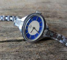 Vintage Ladie's watch Luch,Russian women's watch,Mechanical wristwatch,Watch bracelet,Retro watch,Working,Silver watch,Blue watch,USSR