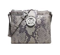 New Michael Kors Fulton Pearl Grey Leather Crossbody Purse Bag 32F3MFTC3E  #MichaelKors #MessengerCrossBody