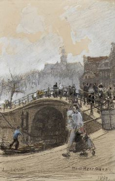 The Brouwersgracht, with the Noordermarkt beyond signed and dated 'Hans Herrmann./1890.'