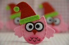 Set of 4pcs handmade felt Christmas owlsbaby pink FT972 by AsecInc, $5.00