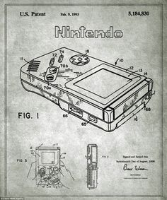 Nintendo Gameboy - Photos - Blueprints behind famous inventions revealed - NY Daily News Interaktives Design, Bartop Arcade, Wal Art, Mundo Dos Games, Pokemon, Chalkboard Decor, Patent Drawing, Nerd, Retro Video Games