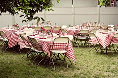 Red and white paper table cloths, fold out chairs and the smell of lighter fluid. Though our family gatherings NEVER looked this chic!
