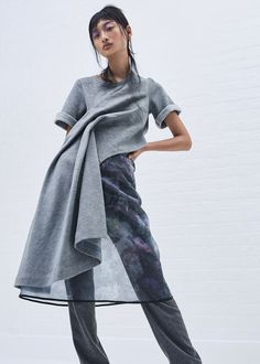 Scottacus Anthony | Fall 2016 | Draped t-shirt with ghosty floral layered skirt