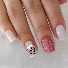 Awesome Glitter Nail Art Designs You'll Love Square Nail Designs, Short Nail Designs, Easy Nail Designs, Toenail Art Designs, Nail Polish Designs, Cute Acrylic Nails, Glitter Nail Art, Stylish Nails, Trendy Nails
