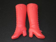 Doll shoes Knee high boots red Barbie Sindy etc
